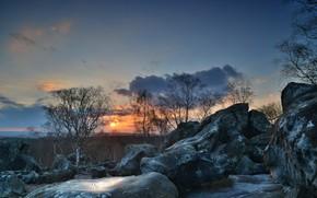 tramonto, alberi, pietre, Rocce, paesaggio