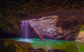 gruta, cascada, estanque, Rocas, naturaleza