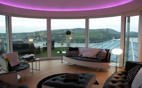 terrazza, salone, progettazione, vetro, stile, interno, domestico