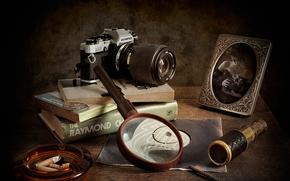 lupa, Libros, retrato, cámara, Detectives