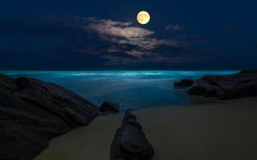 beach, moon, sea, Rocks, night, full moon