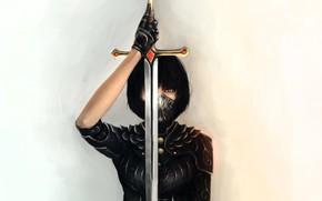 меч, клинок, маска, девушка, арт