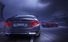 тучи, BMW, дым, задок, БМВ, выхлопные трубы, небо, красный, серебристый
