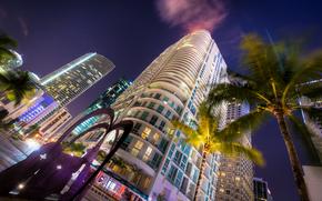 Майами, дома, ночь, Флорида, пальмы, автомобили, отели