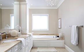 espejo, gabinete, toalla, ventana, habitación, baño, Cuarto de baño