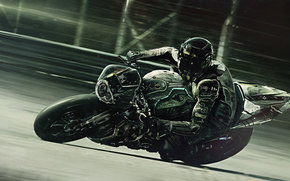 Sport bike, motorcycles, track, motorcyclist, turn, black