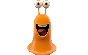 orange monster slug, joy, bright smiling monster on white background