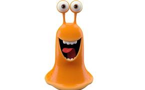 arancione mostro slug, gioia, luminoso mostro sorridente su sfondo bianco