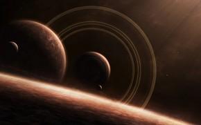 明星, 卫星, 戒指, 空间, 地球
