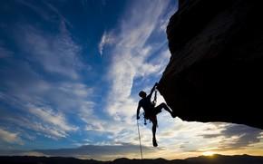 rock climbing, sunset, Extreme, sky, man, Sport