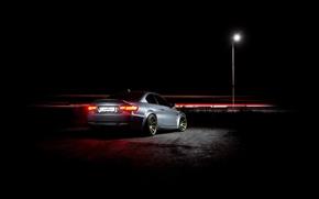 BMW, night, lantern, Gray, BMW, zadok