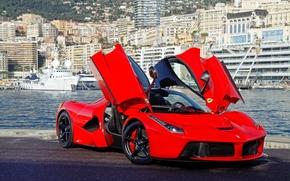 дверцы, Ferrari, гильотина, лаферрари, красный, вид спереди, феррари