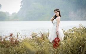 азиатка, музыка, девушка, скрипка, дождь