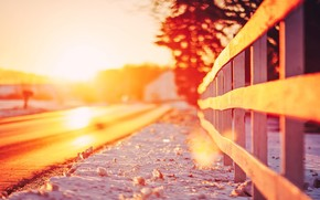 Widescreen, bokeh, degradation, fence, snow, Widescreen, landscape, fencing, sun, wallpaper, fence, trees, nature, foliage, background, road, leaves, fullscreen