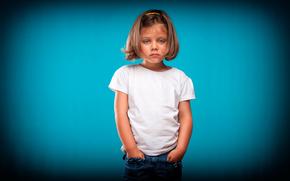 девочка, фон, взгляд, портрет