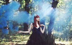 forest, fantasy, story, diadem, Art, wand, enchantress