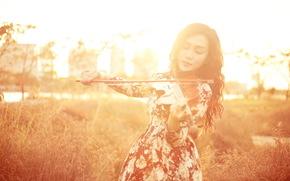музыка, азиатка, девушка, скрипка