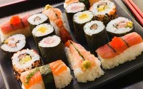 Japan, seafood, red caviar, shrimp, rolls, Sticks, salmon, thread, seaweed, laying, red fish, Japanese cuisine, rice, slices, sushi, sushi