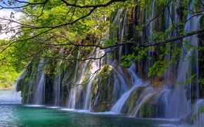 waterfalls, river, trees, nature