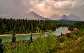 fiume, foresta, ferrovia, Montagne, vulcano, smog, paesaggio