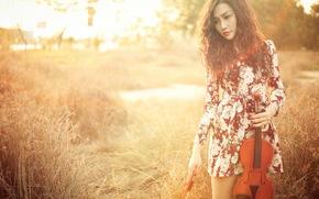 девушка, скрипка, азиатка