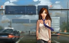 macchinario, ragazza, legare, stradale, T-shirt, Art