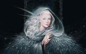ragazza, piumaggio, Art, Orecchini, mani, ornamentazione, visualizzare, nevicata, capelli bianchi