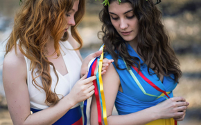 Girls, love, world, Ukraine, country, flags Dresses, Russia