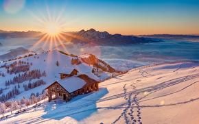 sol, Montañas, niebla, casa, cielo, nieve, invierno, árboles