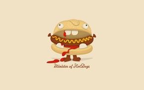 hot dog, cartone animato, umorismo, minimalismo