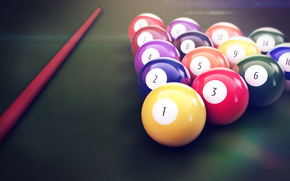 table, cue, Balloons, billiards