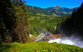 панорама, Австрия, горы, радуга, долина, водопады Кримль, деревня, лес