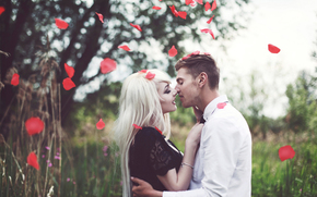 лепестки роз, жених, невеста, свадьба, поцелуй