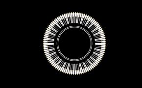 Black, Pencils, White, Keys, circle