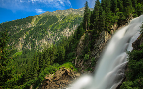 FLOW, forest, Mountains, Alps, Krimml Waterfalls, Austria