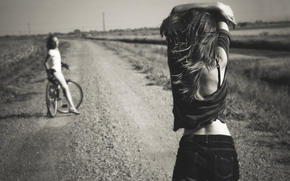 summer, shorts, bike, bw, road, Girls