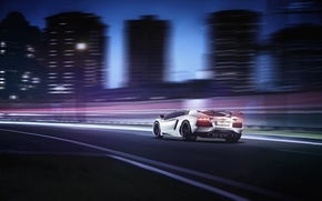 небоскрёбы, Lamborghini, город, ламборджини, белый, авентадор