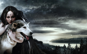лицо, девушка, снег, арт, платье, макияж, взгляд, животное, волк, волосы, королева, Моргана