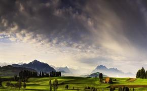 cielo, paesaggio, Montagne, prati, campo, natura