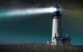 cabin, sky, Star, grass, light, lighthouse