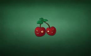 две, минимализм, хмурые, вишня, лист, темноватый фон, красные