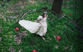forest, dress, diadem, BERRY, girl, strawberries