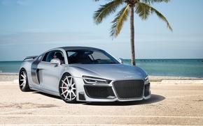 ауди, Audi, серебристый, спорткар, океан, пальма