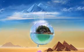 pyramids, Phantasmagoria, 3d, art