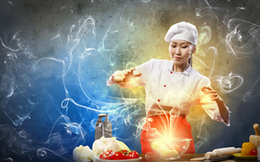 дым, девушка, капуста, готовка, повар, овощи, креатив, тёрка, помидоры, азиатка