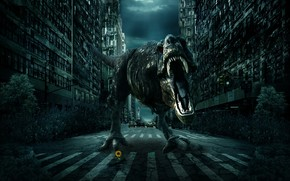 城市, 道路, 恐龙, 3D