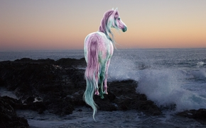лошадь, конь, море, 3d, art