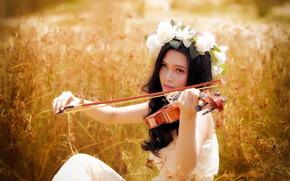 девушка, музыка, лето, азиатка, скрипка