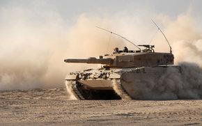 боевой, бронетехника, танк, пыль, песок