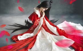 кимоно, девушка, лепестки, кукла